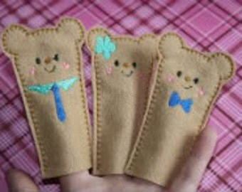 ONE HOOPING Teddy Bear Family Finger Puppets Embroidery Machine Design for the 5x7 hoop