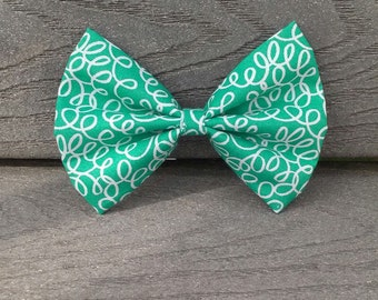 Teal Squiggly Bow