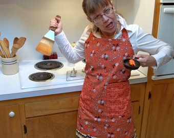 Apron / Cotton Apron / Kitchen Apron / Apron Orange / Orange Apron / Thanksgiving Apron / Floral Apron