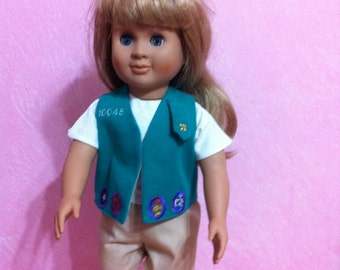 American Girl Doll Junior Girl Scout Uniform.  I will embroider your chosen troop number.