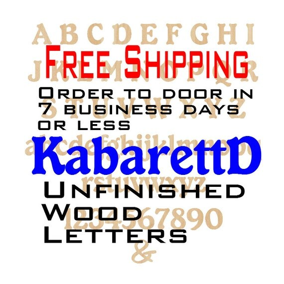 Unfinished Wood Letters Numbers, Free Shipping, KabarettD, Wood Craft, laser cut wood, &, birch, wooden, wall, DIY, Wedding