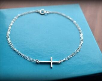 Sterling Silver Cross Bracelet-Double Chain Bracelet-Dainty Bracelet-Sterling Silver Bracelet-Horizontal Cross Bracelet-Gift