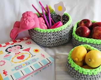 Crochet cotton baskets (grey & neon green) - Set of three, home accessories, storage