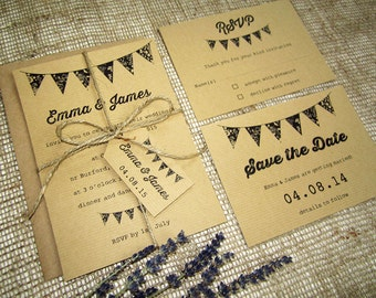 Rustic bunting wedding invitation with rsvp, twine and tag / plain or ribbed kraft card invitation  / vintage wedding / country wedding