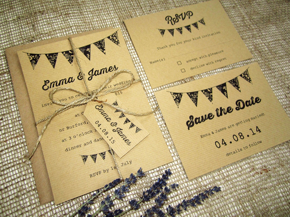 Bunting Wedding Invite: Rustic Bunting Wedding Invitation With Rsvp Twine And Tag