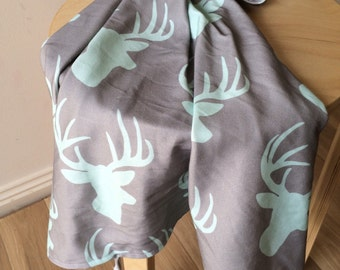 Mint Deer. Elk antler organic baby wrap. Baby swaddle. Organic cotton wrap. Nursery wrap.