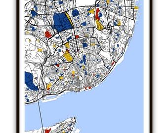 Lisbon Map Art / Lisbon, Portugal Wall Art / Print / Poster / Modern Home and Office Decor