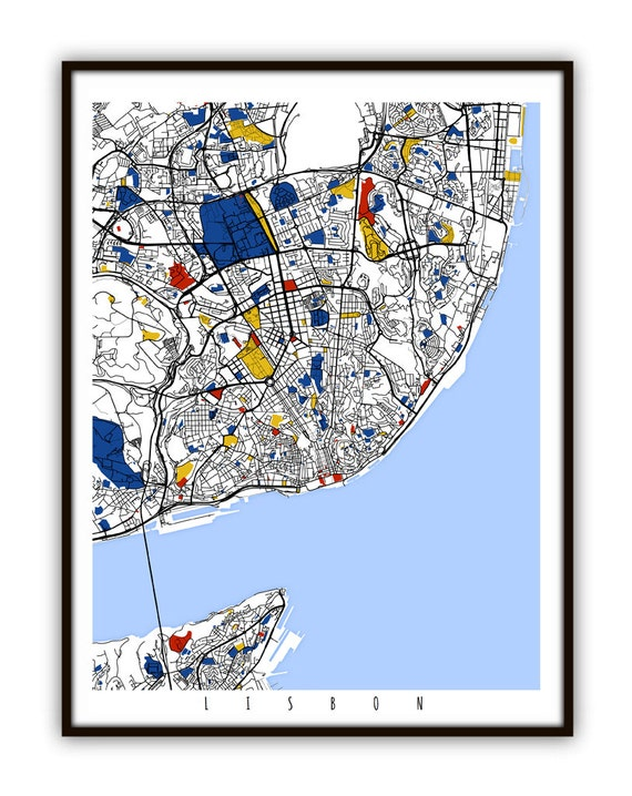 Lisbon Map Art Lisbon Portugal Wall Art Print Poster - Portugal map to print