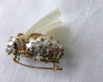 Vintage sequin and bead insect pin