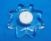 Blenko Handcraft Glass Flower Snowflake Tealight Candle Holder Floral Handblown Handcrafted For Christmas or Everyday Use