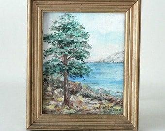 Framed Original Seaside Painting On Canvas