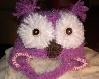 Crochet Owl Hat, for newborn to 12 years of age.