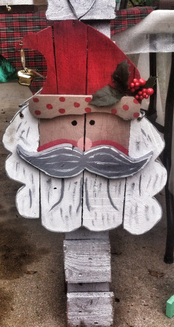 Outdoor Christmas Decorations With Pallets : Santa door hanger rustic christmas by paepaesplace