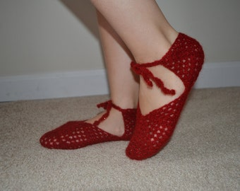 Wool Crochet Red Slippers, Wool Slippers, Wool Home Shoes, Women Accessories