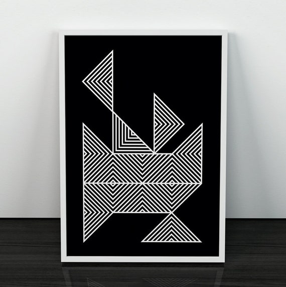 black and white art lines print modern poster scandinavian