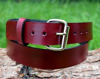 Cristopher Handmade Oxblood Leather Belt