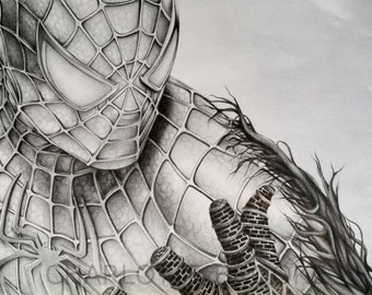 Spider-Man Pencil Drawing Portrait Print
