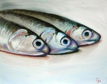 The Catch Still life original painting