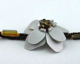 Grey&Brown bracelet, upcycled jewelry