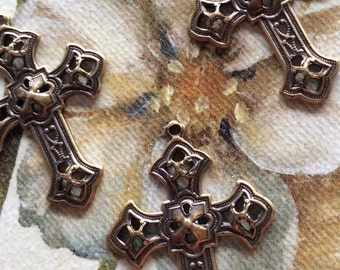 Antique brass gothic cross charms 3 pc