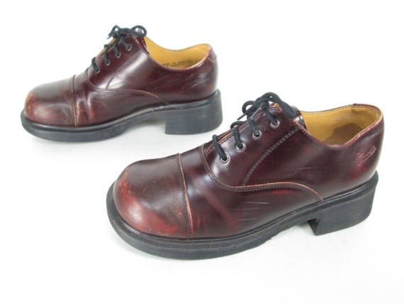 Womens Vintage Dr Martens Red/Brown Leather Lace Up Chunky