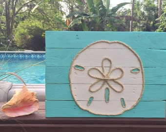 Handmade Sand Dollar with Rope Beach Pallet Art Nautical Art Rope Art Pallet Art Coastal Decor