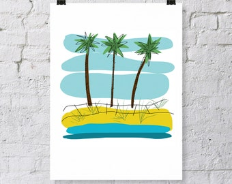 Modern art palm tree print, digital download, three palm trees on beach with blue sky, tropical scene with water, tropics and vacation time
