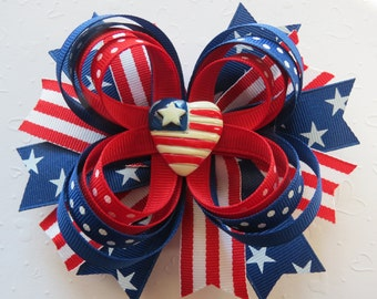 Patriotic USA hair bow headband Red White Blue 4th of July Memorial day Boutique grosgrain barrette clip Cici's