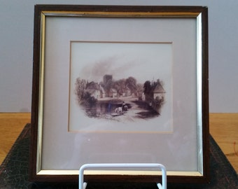 Framed Art Print - Chalfont St Giles In 1857-Horses at Pond in a Village