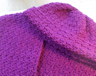Purple Crocheted Scarf & Hat