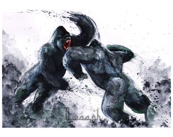 Gorillas fighting print from original watercolor, decor animal wall art