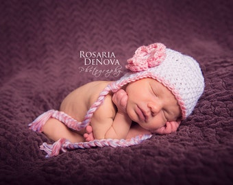 Baby Newborn Hat, Newborn Girl Hat, Ready to Ship, Crochet Baby Hat, Baby Hat, Ear Flap Hat, White Pink, Newborn Prop, Crochet Newborn Hat