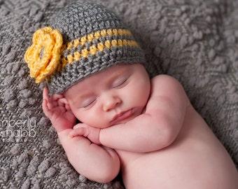 Newborn Beanie, Baby Girl Hat, Baby Girl Beanie, Crochet Baby Hat, Baby Hat, Photo Prop, Ready to Ship, Grey Yellow, Baby Girl, Newborn Hat