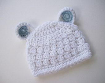 Bear Hat, Ready to Ship, Newborn Bear Hat, Animal Hat, Baby Boy Hat, Newborn Baby Hat, Newborn Prop, Baby Shower Gift, Crochet Baby Hat