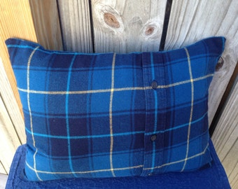 Blue Plaid Flannel Pillow, Re-purposed Flannel, Winter Decor, Lodge, Country, Rustic, Yellow, Gift Idea, Christmas in July, CIJ