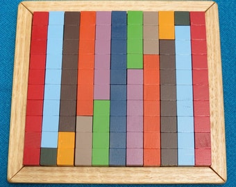 Wooden Counting Blocks, 1 to 10, 10 to 1, Tray included