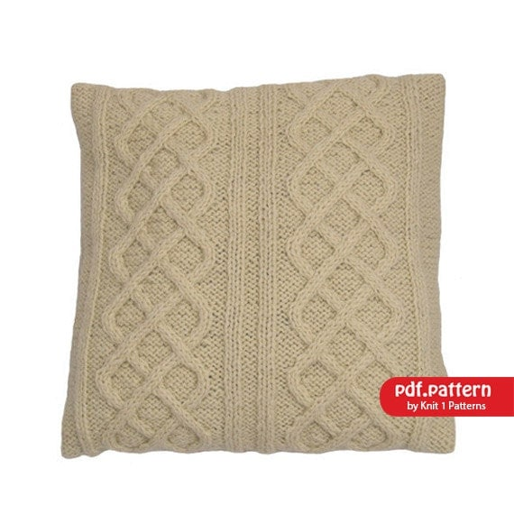 Cable Knit Sweater Pattern Free : Cable Stitch Cushion Cover Downloadable knitting pattern