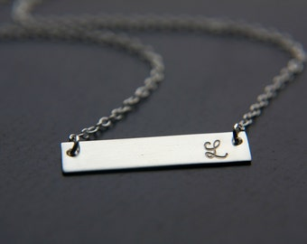 Silver Bar Necklace, Initial Bar Necklace, Sterling Silver, Horizontal Bar Name Plate Nameplate Necklace, Personalized Necklace Hand Stamped