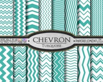 Turquoise Chevron Digital Paper Pack - Instant Download - Digital Chevron Scrapbook Paper