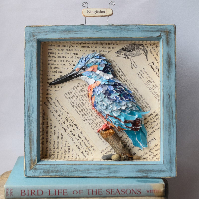 Paper Mache Kingfisher Bird Blue Aged Box Frame By