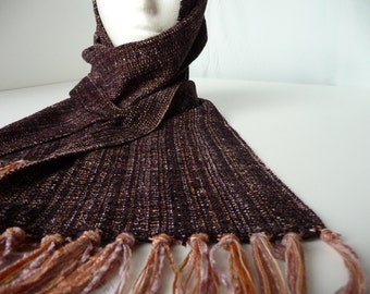 Handwoven Soft Chenille/ Brown Plain Weave Scarf