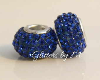 Sapphire/Royal Blue Crystal Rhinestone Bead for European Style Charm Bracelets