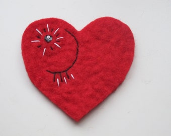 felted Heart, Red