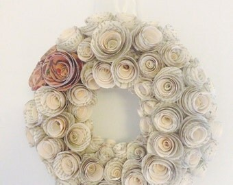 Beautiful paper rose wreath