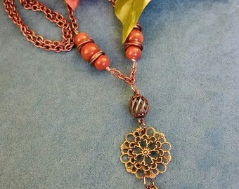 Goldstone Copper and Brass Necklace