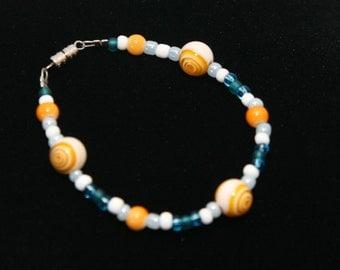 SALE-Stunning blue and orange bracelet