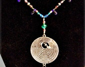 Peacock Beaded Enchanting Gem Jewel Tone Silver Choker Necklace