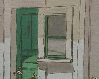 "Original Oil Painting, size 10""x8"", titled ""Green Door""."
