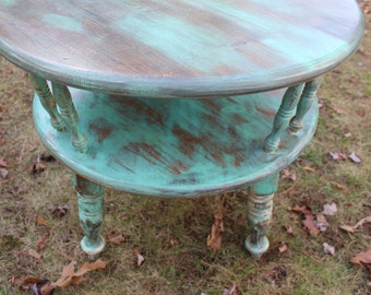 Distressed teal coffee table completely refurbished for Teal coffee table