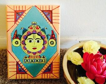 The Sun - Canvas Acrylic Madhubani Indian Art Piece for Home Decor
